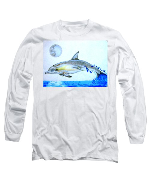 Long Sleeve T-Shirt featuring the drawing Porpoise by Mayhem Mediums