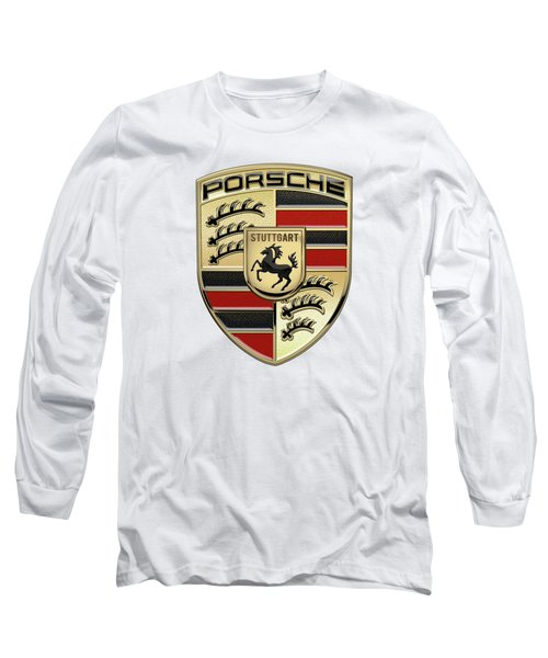 Porsche 3 D Badge Special Edition On White Long Sleeve T-Shirt
