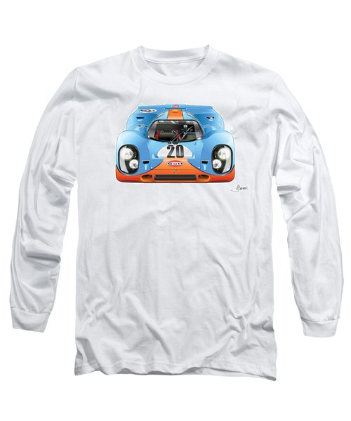 Porsche 917 Gulf On White Long Sleeve T-Shirt