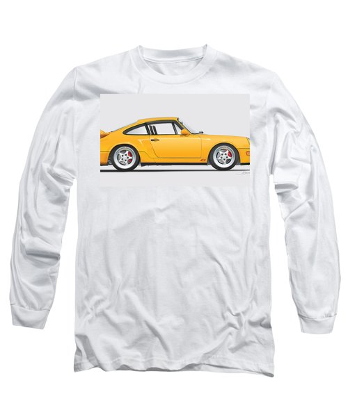 Porsche 964 Carrera Rs Illustration In Yellow. Long Sleeve T-Shirt by Alain Jamar