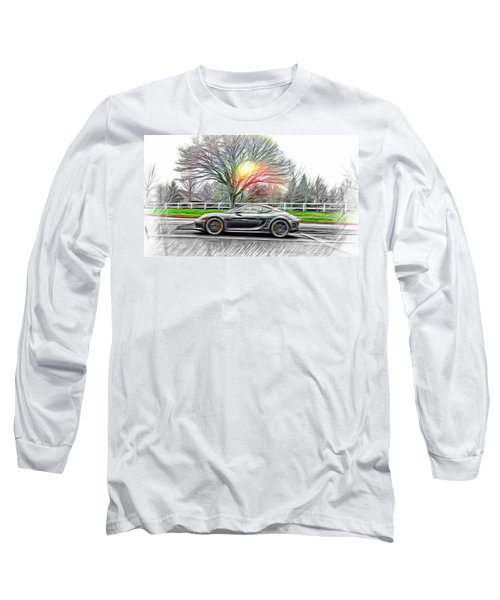 Long Sleeve T-Shirt featuring the mixed media Porsche Gt In Oil by Aaron Berg
