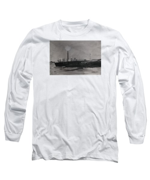 Port Talbot Steel Works Long Sleeve T-Shirt by Carole Robins
