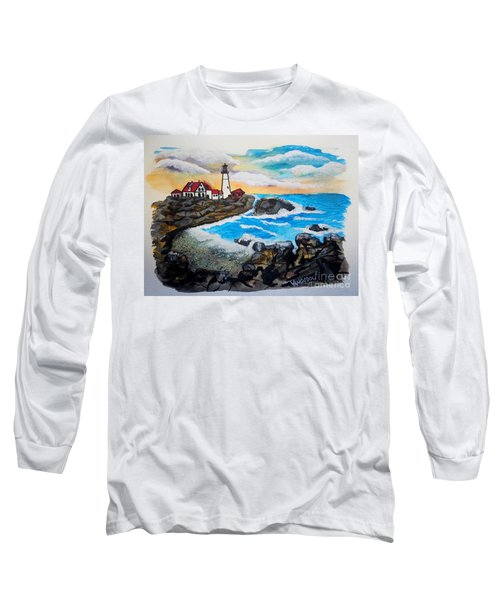 Porthead Lighthouse Maine In Watercolors Long Sleeve T-Shirt