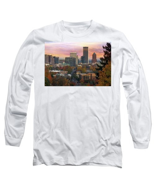 Portland Downtown Cityscape During Sunrise In Fall Long Sleeve T-Shirt