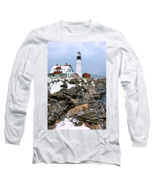 Portland Head Light In Winter Long Sleeve T-Shirt