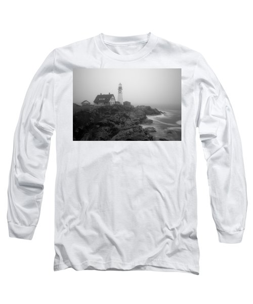 Portland Head Lighthouse In Fog Black And White Long Sleeve T-Shirt