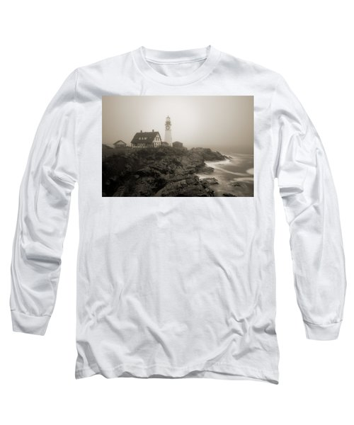 Portland Head Lighthouse In Fog Sepia Long Sleeve T-Shirt