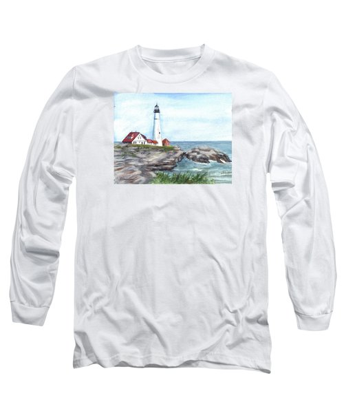 Portland Head Lighthouse Maine Usa Long Sleeve T-Shirt by Carol Wisniewski