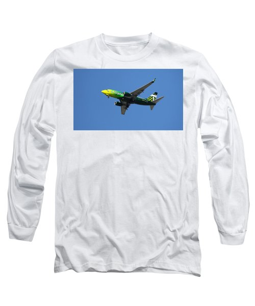 Airplane Long Sleeve T-Shirt featuring the photograph Portland Timbers - Alaska Airlines N607as by Aaron Berg