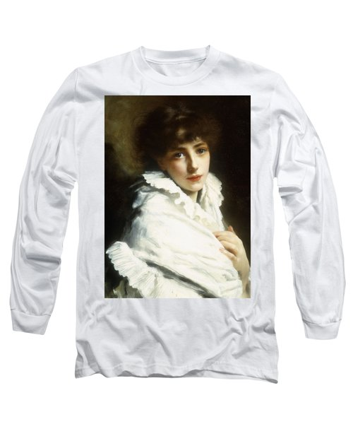 Portrait Of A Young Girl In White Long Sleeve T-Shirt