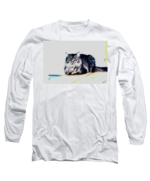 Portrait Of Maine Coon, Mattie Long Sleeve T-Shirt by Gina O'Brien