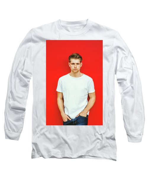Portrait Of Young Handsome Man Long Sleeve T-Shirt