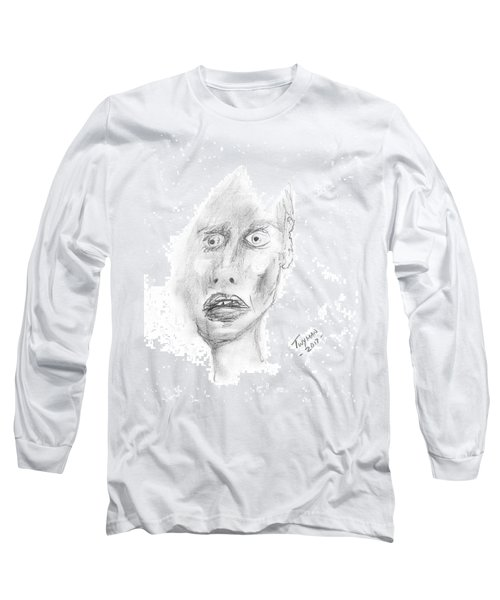 Portrait With Mechanical Pencil Long Sleeve T-Shirt by Dan Twyman