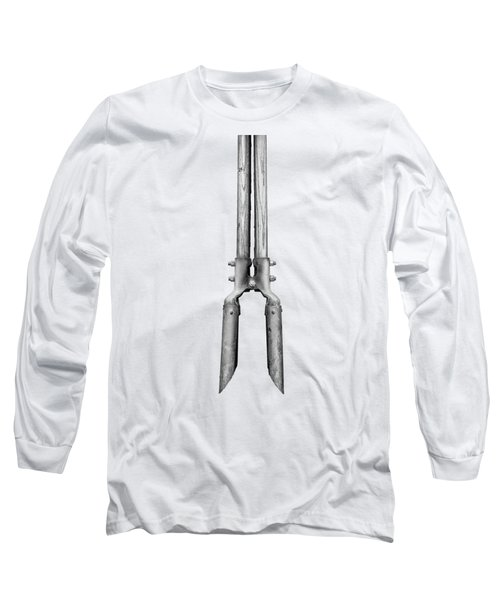 Post Hole Digger II On Plywood 73 In Bw Long Sleeve T-Shirt