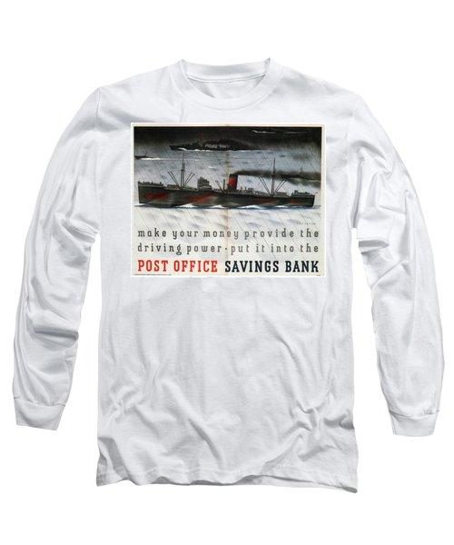 Post Office Savings Bank - Steamliner - Retro Travel Poster - Vintage Poster Long Sleeve T-Shirt