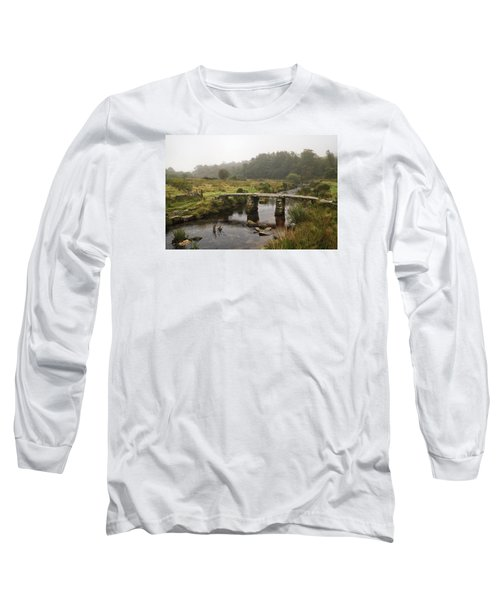 Postbridge Clapper Bridge In Dartmoor  Long Sleeve T-Shirt by Shirley Mitchell