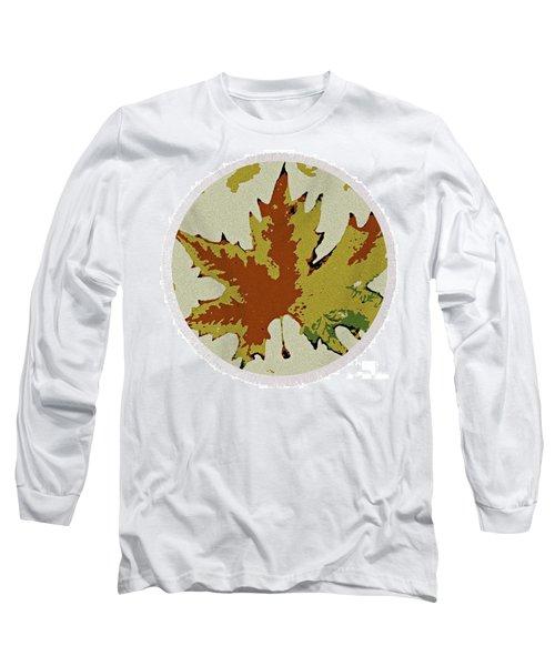 Posterised Autumn Leaf - Round Beach Towel Long Sleeve T-Shirt