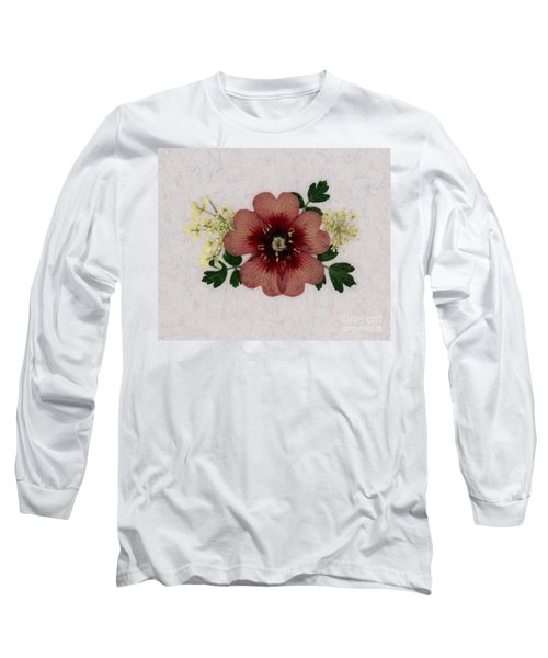 Potentilla And Queen-ann's-lace Pressed Flower Arrangement Long Sleeve T-Shirt