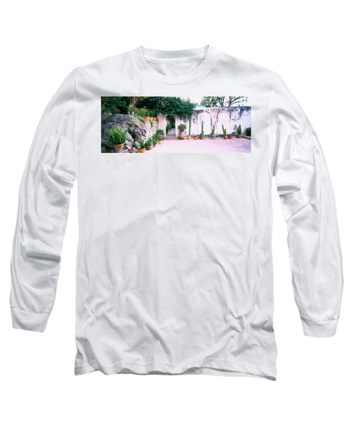 Potted Plants In Courtyard Of A House Long Sleeve T-Shirt