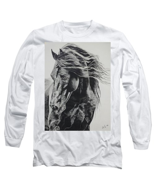 Long Sleeve T-Shirt featuring the drawing Power Of Horse by Melita Safran