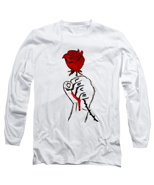 Long Sleeve T-Shirt featuring the drawing Power Of Love by Lucy Frost