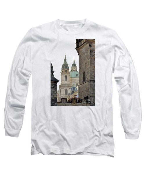 Long Sleeve T-Shirt featuring the digital art Prague-architecture 3 by Leo Symon