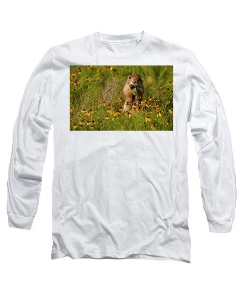 Prairie Dog In Flowers Long Sleeve T-Shirt