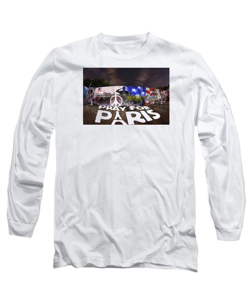 Pray For Paris Long Sleeve T-Shirt by Andrew Nourse
