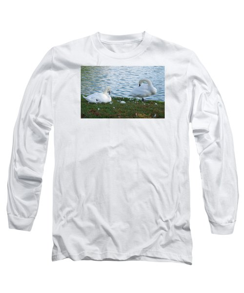 Preening Swans Long Sleeve T-Shirt by Cathy Donohoue