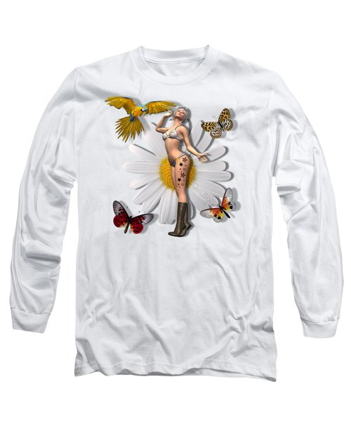 Pretty 3d Woman With Macaw And Butterflies Long Sleeve T-Shirt