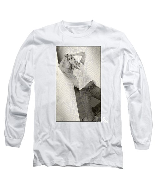 Pretty Girl On Her Knees Long Sleeve T-Shirt by Michael Edwards