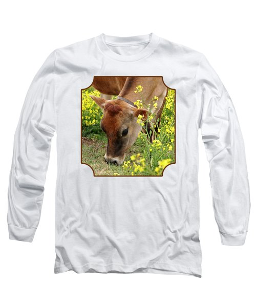 Pretty Jersey Cow Square Long Sleeve T-Shirt by Gill Billington