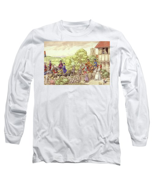 Prince Edward Riding From Ludlow To London Long Sleeve T-Shirt by Pat Nicolle