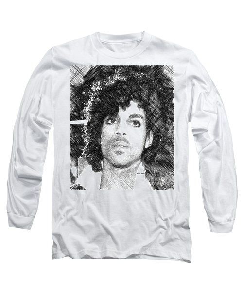 Prince - Tribute Sketch In Black And White 3 Long Sleeve T-Shirt