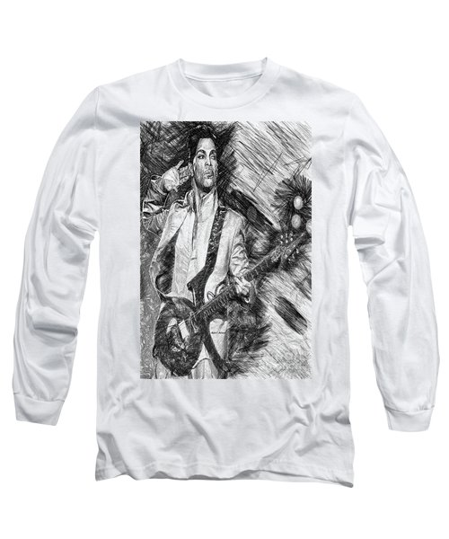 Prince - Tribute With Guitar In Black And White Long Sleeve T-Shirt