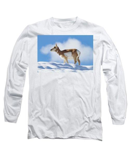 Pronghorn Doe On Snowy Ridge Long Sleeve T-Shirt