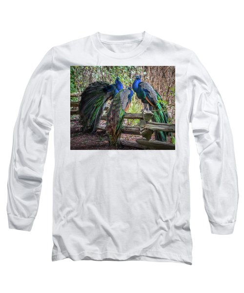 Proud As Three Peacocks Long Sleeve T-Shirt by Keith Boone