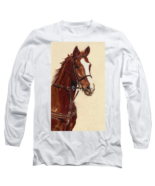 Proud - Portrait Of A Thoroughbred Horse Long Sleeve T-Shirt by Patricia Barmatz