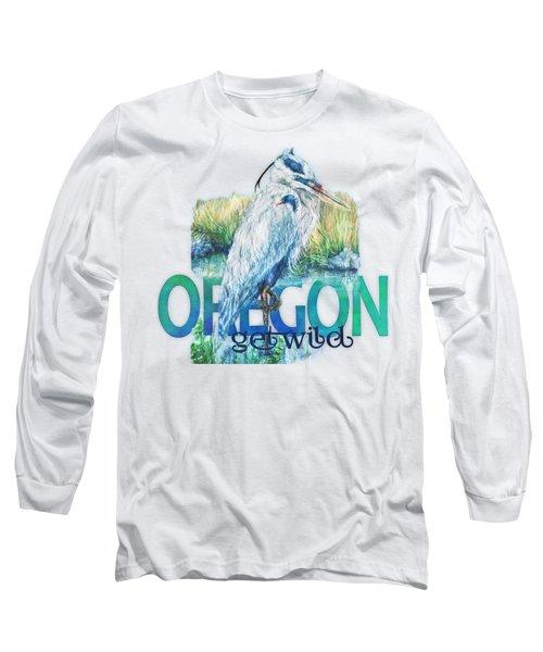 Puddletown Great Blue Heron Long Sleeve T-Shirt