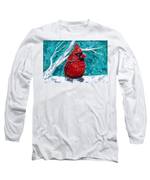 Pudgy Cardinal Long Sleeve T-Shirt by T Fry-Green