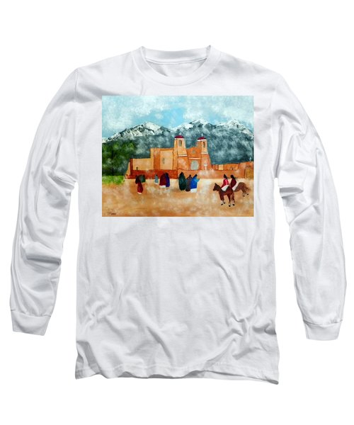 Pueblo Church Long Sleeve T-Shirt by Joseph Frank Baraba