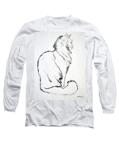 Long Sleeve T-Shirt featuring the drawing Puff by Joan Hartenstein