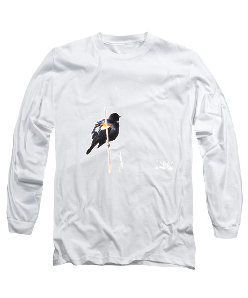 Puffed Up Red-winged Blackbird Long Sleeve T-Shirt