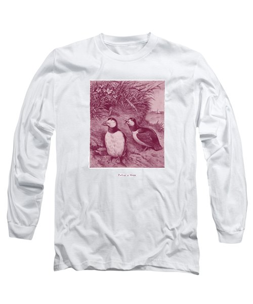 Long Sleeve T-Shirt featuring the drawing Puffins At Home by David Davies