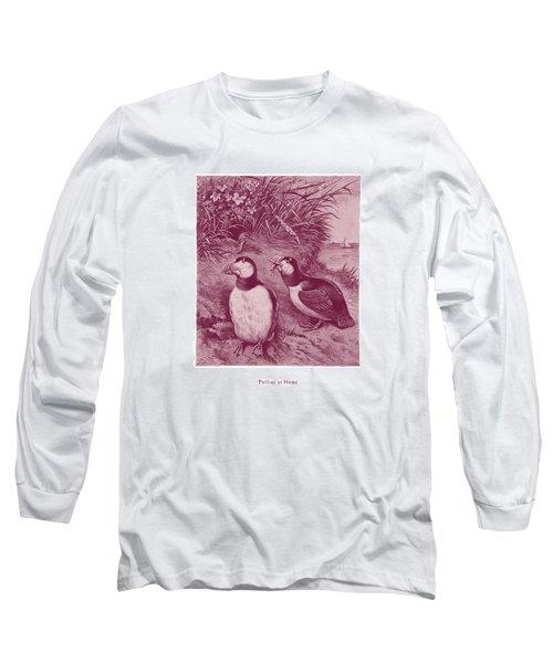 Puffins At Home Long Sleeve T-Shirt by David Davies