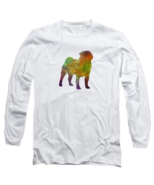 Pug 01 In Watercolor Long Sleeve T-Shirt