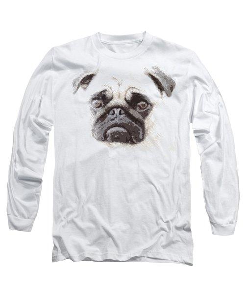 Pug Dog -  Parallel Hatching Long Sleeve T-Shirt
