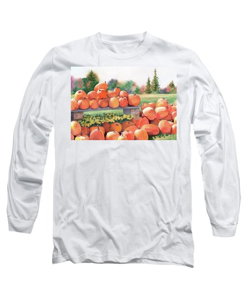 Long Sleeve T-Shirt featuring the painting Pumpkins For Sale by Vikki Bouffard