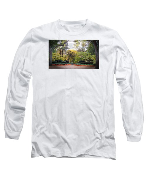 Pumpkins In A Row Long Sleeve T-Shirt by Teresa Schomig
