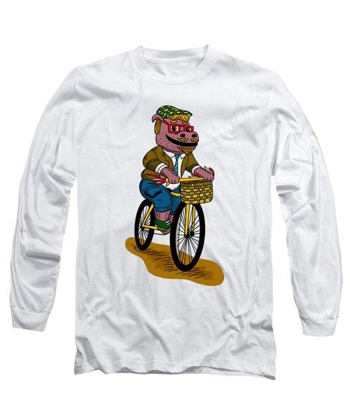 Pun Intended - Hipsterpotamus - Hipsters- Funny Design Long Sleeve T-Shirt